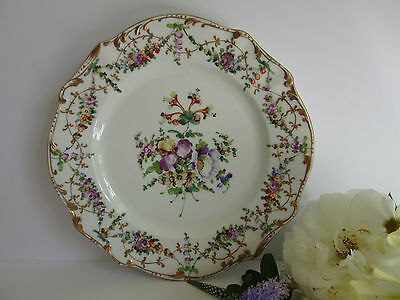 19th Century Dresden Cabinet Plate with Hand-Painted Flowers Gilt Edges #2