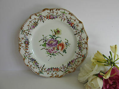 19th Century Dresden Cabinet Plate with Hand-Painted Flowers Gilt Edges #3