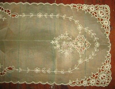 Lime Green Sheer Runner Cut Work w Embroidery 16 x 40