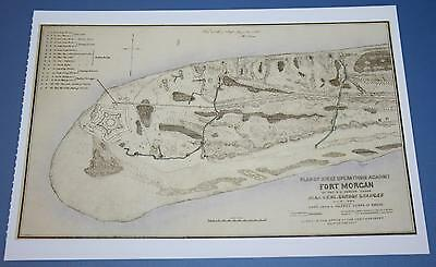 Postcard of Civil War Map - Siege Operations Fort Morgan Alabama August 1864