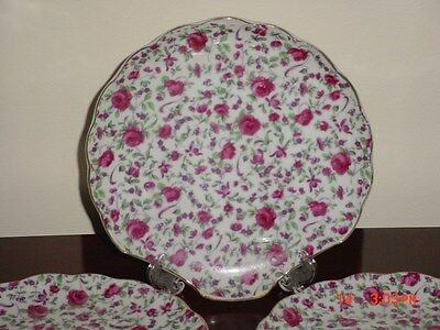 NAPCO SET OF 4 ROSE CHINTZ SNACK LUNCHEON PLATES SHELL SHAPE