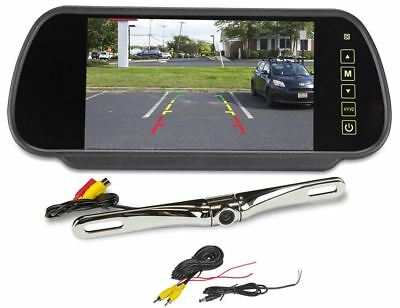 "Rockville Chrome Metal License Plate Bar Type Backup Camera+7"" Mirror Monitor"