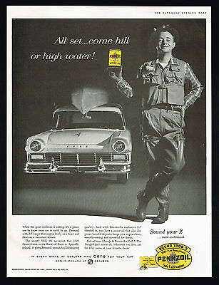 1957 Ford Station Wagon Fly Fisherman Waders Pennzoil Oil Print Ad