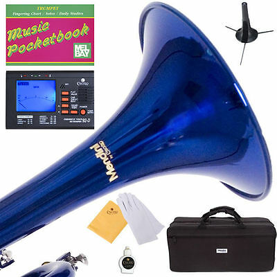 MENDINI Bb TRUMPET ~BLUE LACQUERED FOR CONCERT BAND +TUNER+STAND+CARE KIT+CASE