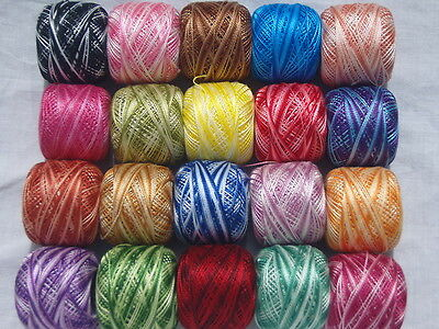 10 Vareigated ANCHOR Pearl Cotton Crochet Balls Size no 8 Embriodery thread (85m