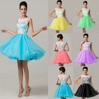 Glam Womens Short Pageant Homecoming Lace Tulle Evening Prom Bridesmaid Dresses