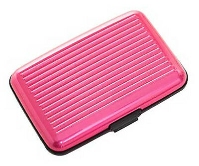 Plixio Pink Aluminum Security Wallet w/ RFID Blocking Hard Case Protect Identity