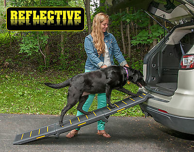 "NEW! Pet Gear Travel Lite Tri-Fold Reflective Dog / Pet Ramp 71"" Long  TL9371RF"