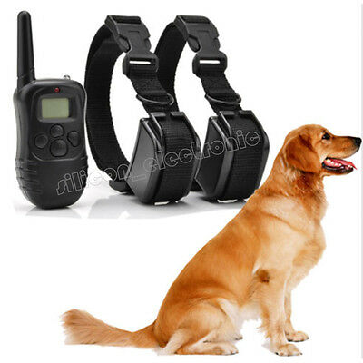 Rechargeable Water Resistant LCD 100LV Shock Vibra Remote 2 Dog Training Collar