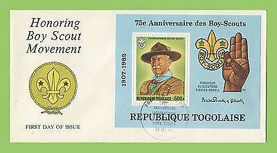 Togo 1982 75th Anniversary of Scouts miniature sheet on First Day Cover, Emblem
