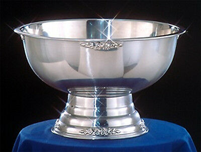 Stainless Steel Party Punch Bowl Wedding Banquet Catering Silver Trim 5 Gallon