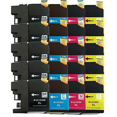 20PK LC103 Ink Cartridge Set for Brother MFC-J470DW MFC-J6720DW NEW VERSION CHIP
