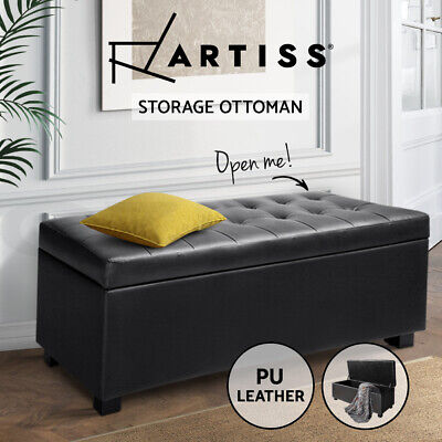 Artiss Blanket Box Storage Ottoman PU Leather Foot Stool Chest Bed Large Black