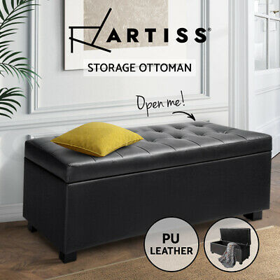 Blanket Box Ottoman Storage PU Leather Foot Stool Chest Toy Bed Large Black