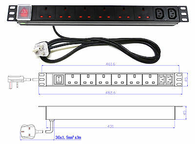 "19"" 8 Way Power Distribution Unit (6x UK & 2x IEC C13) Extension PDU Data Rack"