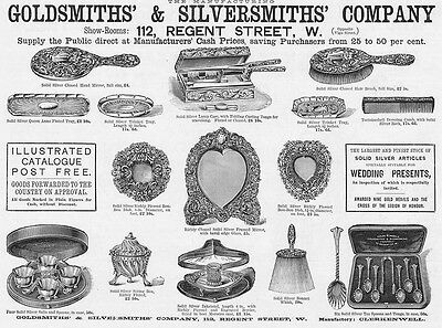 GOLDSMITHS and SILVERSMITHS CO Silver Articles - Antique Advertising Print 1891