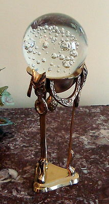 Art Glass CRYSTAL PAPERWEIGHT with Bubbles on BRASS STAND Made in Italy