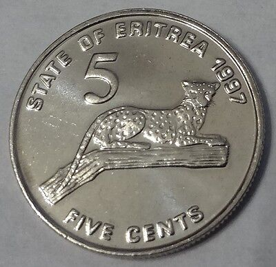 1997 ERITREA, 5 CENTS, ONE YEAR TYPE, HIGH GRADE, LEOPARD