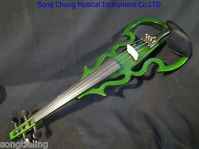 Excellent green SONG Brand streamline 4/4 electric violin,solid wood #7856