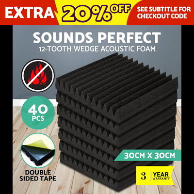 40 x Studio Acoustic Foam Panel Tile Sound Absorption Treatment Wedge Charcoal
