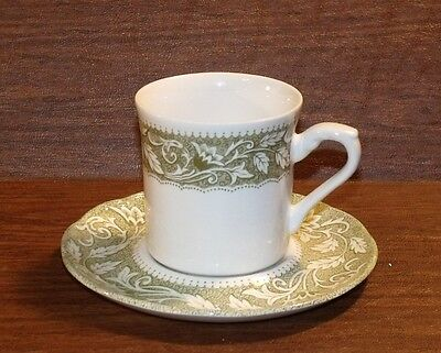 Lot of 4 J & G Meakin Staffordshire RENAISSANCE GREEN Cups & Saucers