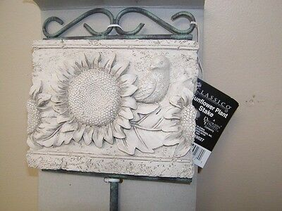 Sunflower Garden Sign Stake Plaque NEW Resin & Wrought Iron Ivory Flora