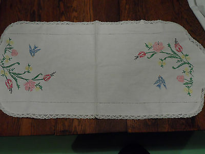 Vintage Hand Made Embroidered Table cloth Linen Runner. Blue Birds Tulips
