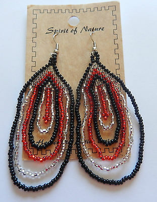 Earring Spirit of Nature seed beads circle-silver red  black -dangly-