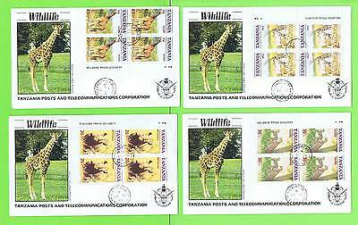 Tanzania 1986 Endangered Animals of Tanzania blocks on First Day Covers