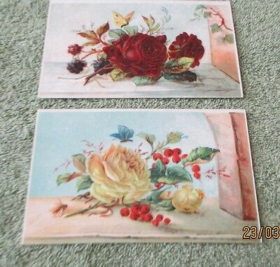 2 Vintage Printed in Germany Raised Design Roses Red & Yellow Post Cards