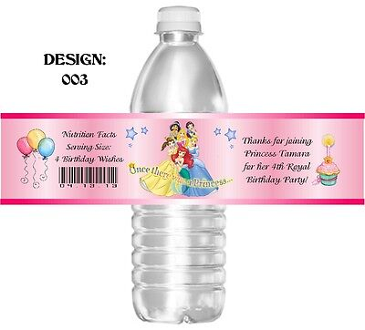 DISNEY PRINCESS BIRTHDAY WATER BOTTLE LABELS PARTY FAVORS INVITATIONS CUPCAKES
