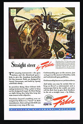 1943 WWII US Bombardier Gunner Sperry Gyro GM Fisher Body Print Ad