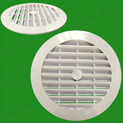 "8x White Round Air Vent Grill Cover, 123mm, 100mm Hole Ventilation, 4"" Ducting"