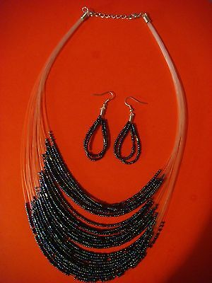 Necklace & Earring Set ~ Muti Colored Beads ~ Strung On Strong Plastic Line