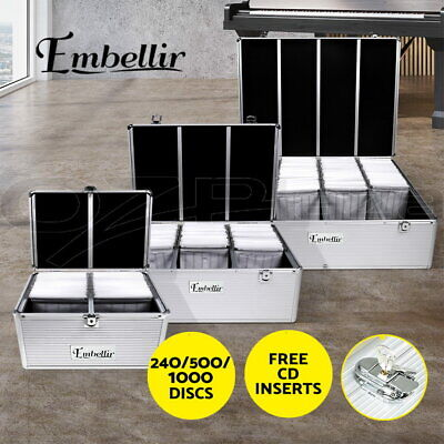 Embellir CD Case DVD Cases Storage Box 240/500/1000Discs Aluminium Case Folder