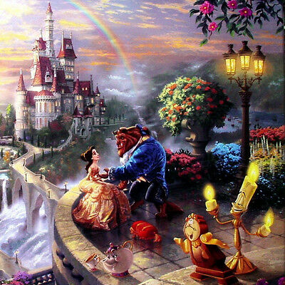 Thomas Kinkade Beauty and the Beast Falling in Love 14x14 Wrapped Canvas Disney