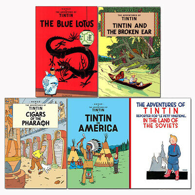 Herge Adventures of Tintin Series 1 : 5 Books Collection Set Tintin in America