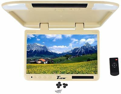 "Tview T257IR-TN 25"" Beige/Tan Flip Down Wide Screen TFT Car Monitor+Built In IR"