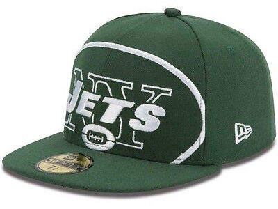 a991435f NEW YORK JETS NFL Enlarged Logo New Era 59Fifty Flat Bill Hat Cap Lid  Fitted NY