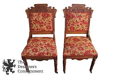 2 Antique Victorian Walnut Carved Red Floral Upholstered Eastlake Parlor Chairs