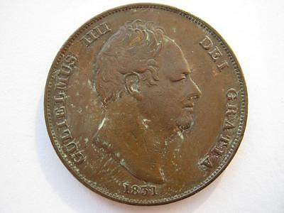 1831 copper Penny, .W.W, VF but surface damage.