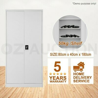 180cm Storage Cabinet Steel Stationary Cupboard Filing File Metal Locker Office