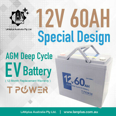 12V 60AH AGM DEEP CYCLE Battery Electric SCOOTER GOLFCART BUGGY Wheelchair >55Ah