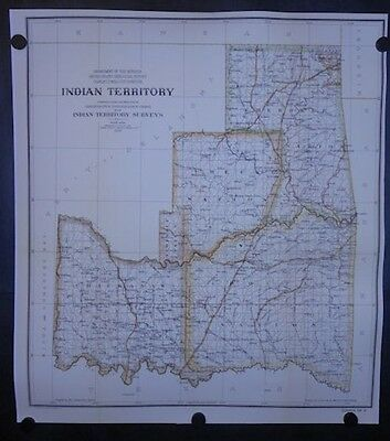 Indian Territory Colored Map Reprint Chickasaw Choctaw Creek Cherokee 1898