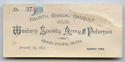 GAR * 1893 WESTERN SOCIETY ARMY OF THE POTOMAC * 4TH ANNUAL BANQUET ticket