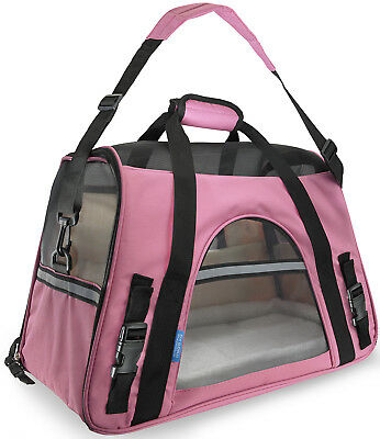 Pet Carrier Soft Sided Large Cat Dog Comfort Rose Wine Pink Bag Travel Approved