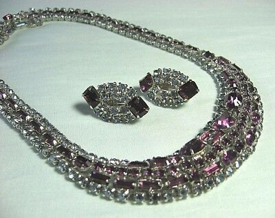 """Pale Blue & Amethyst Colored Rhinestone Necklace & Earrings Necklace: 15 1/4"""""""