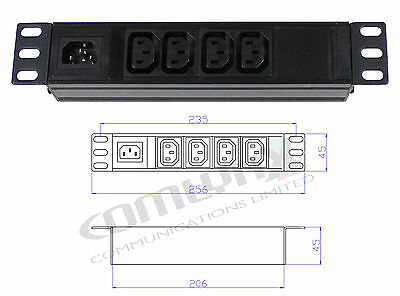 "10"" 4 Way IEC Detachable Power Distribution Box Unit Splitter PDU Data Rack"