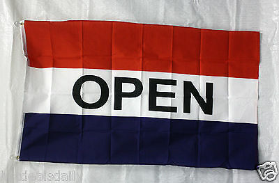 OPEN flag 2'x3' RED WHITE BLUE banner store concession business advert FREE S/H