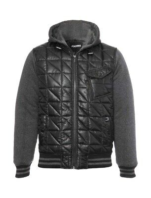 Mens Black/grey Quilted Varsity Baseball Style Hooded Jacket Med, Large & Xlarge